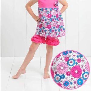 Ruffle Girl Matching Sets - Ruffle Girl Mia Print & Hot Pink Ruffle Short Set